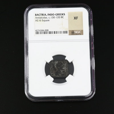 NGC Graded XF Bactria Indo-Greek Coin, Ca.130-120 BCE