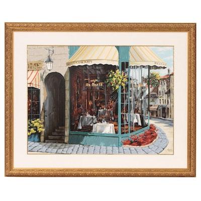 """Viktor Shvaiko Embellished Serigraph """"Cafe de Paris"""""""