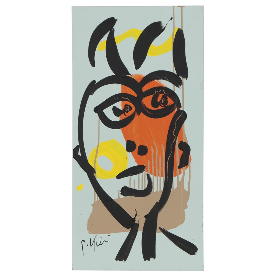 Peter Keil Abstract Acrylic Portrait, Late 20th Century