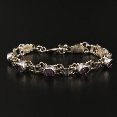 Sterling Silver Amethyst Bezel Link Bracelet