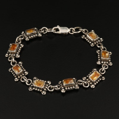 Sterling Silver Rock Crystal Quartz Link Bracelet