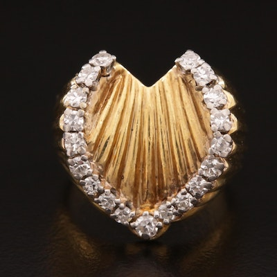 18K Gold and Palladium Diamond Ring with Fluted Design