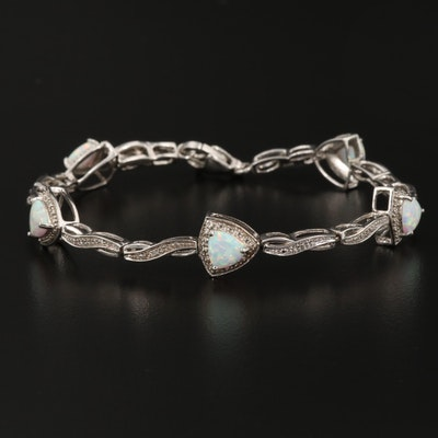 Sterling Silver Synthetic Opal and Diamond Triangular Station Bracelet