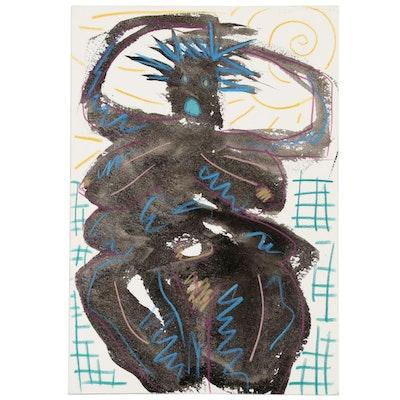 Merle Rosen Abstract Mixed Media Portrait, 1991