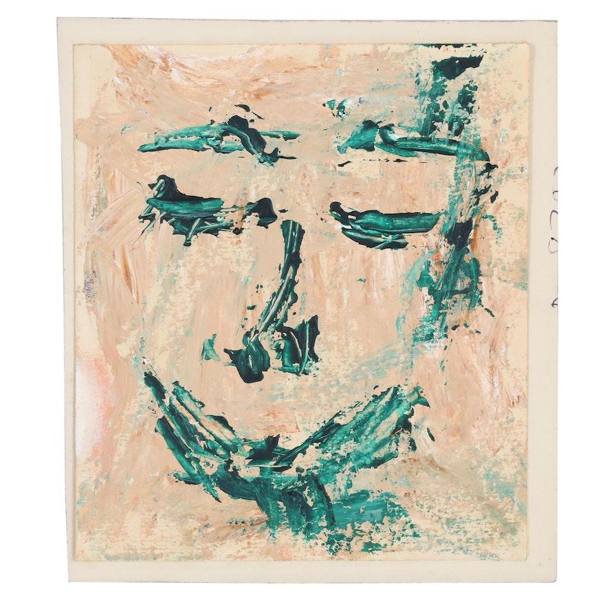 Merle Rosen Abstract Acrylic Portrait, Late 20th Century