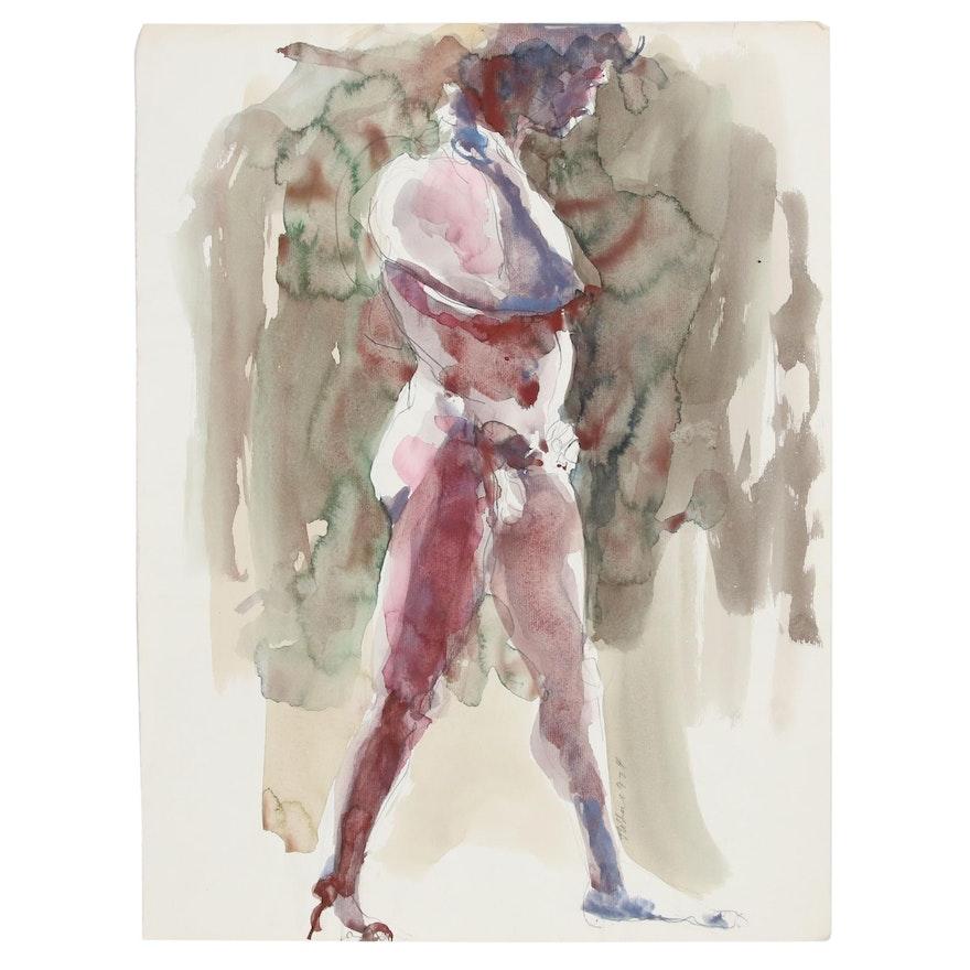 John Tuska Watercolor Painting of Abstract Figure, 1974