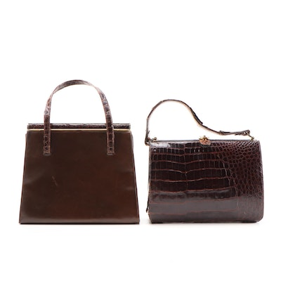 Sterling U.S.A. Brand and Lennox Brown Alligator and Leather Handbags, Vintage