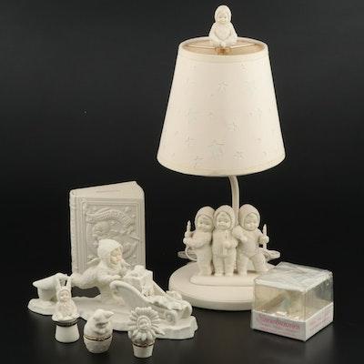 Dept. 56 Porcelain Snowbabies Lamp, Bank and Snowbunnies Hinged Boxes