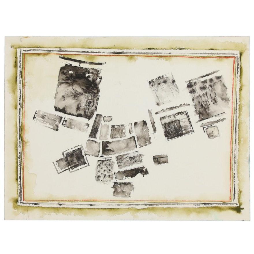 John Tuska Abstract Pen and Inkwash Drawing, 1967
