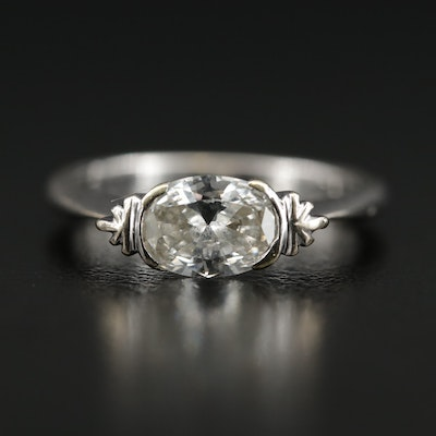 18K 0.84 CT Diamond Ring With East West Setting