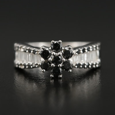10K 1.01 CTW Black Diamond and Diamond Ring