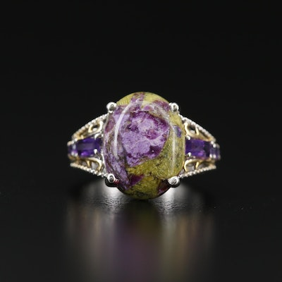 Sterling Silver Atlantisite and Amethyst Ring