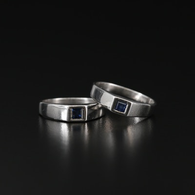 Sterling Silver Sapphire and Synthetic Sapphire Rings
