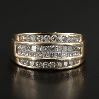 14K Gold 1.00 CTW Diamond Four Row Band