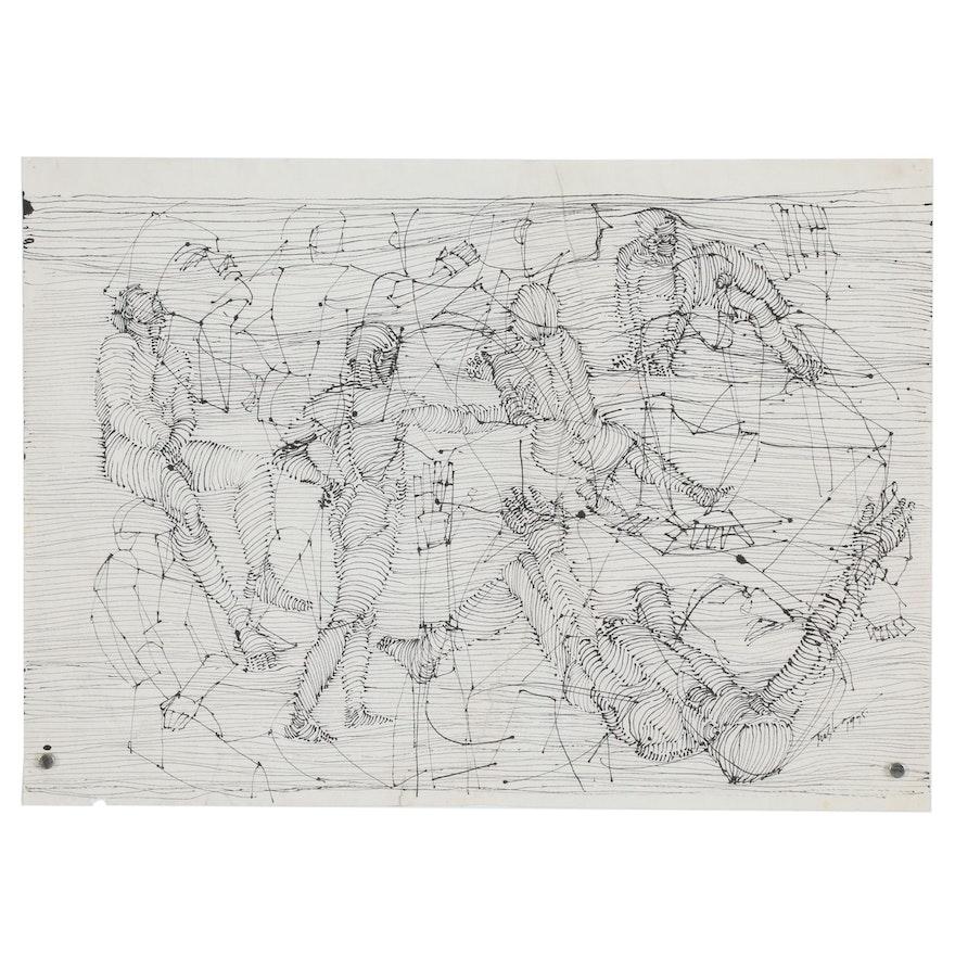 John Tuska Abstract Ink Drawing of Figural Study, 1995