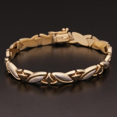 14K Fancy Link Bracelet with Stipple Finish Accents