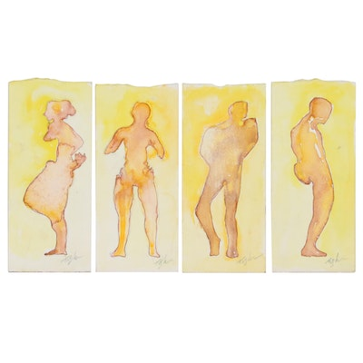 John Tuska Figural Watercolor Paintings of Silhouettes