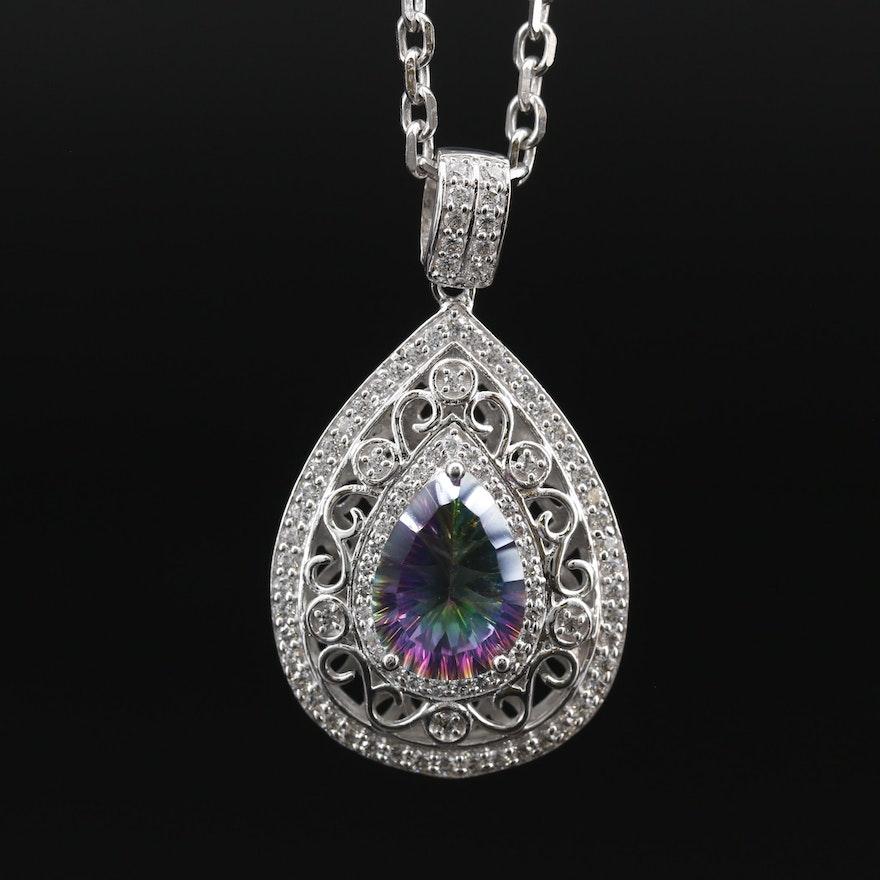 Sterling Silver Quartz and Cubic Zirconia Pendant Necklace