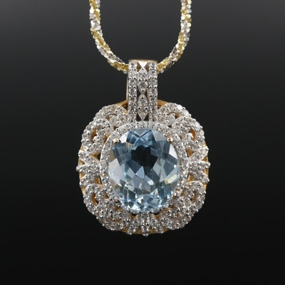 Sterling Silver Topaz and White Sapphrie Pendant Necklace