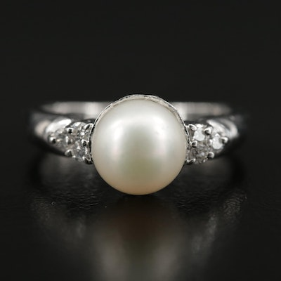 Platinum Diamond Cultured Pearl Ring