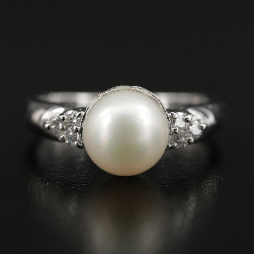 Platinum Diamond Cultured Pearl Ring