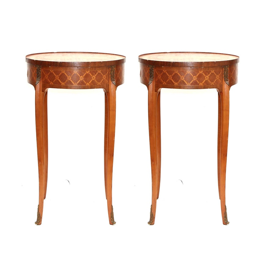 Pair of Louis XV Style Satinwood Marquetry Gueridons, Mid-20th Century