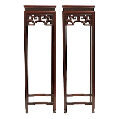 Chinese Style Mahogany Pedestal Plant Stands, Late 20th Century
