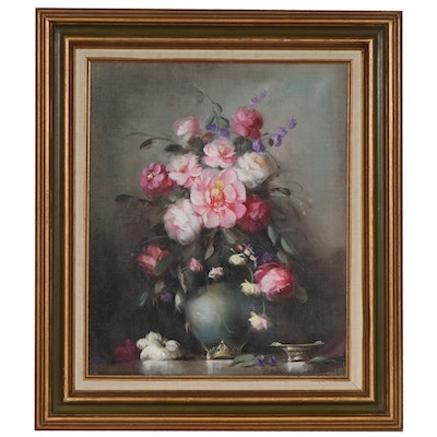 Still Life of Pink and Purple Flowers Oil Painting, Mid to Late 20th Century