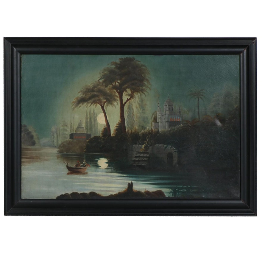 Continental School Style Moonlit River Oil Painting, 19th Century