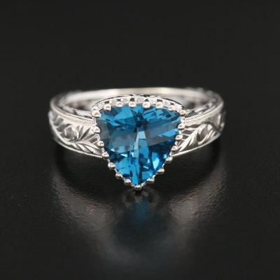 14K Topaz Ring Featuring Engraved Design and Euro Style Shank
