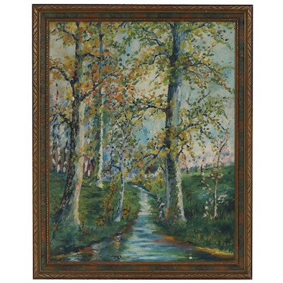 Rural Creek Scene Oil Painting, Early to Mid 20th Century