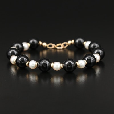 14K Pearl and Black Onyx Bracelet