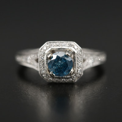 Platinum Diamond Ring Featuring a Blue Diamond