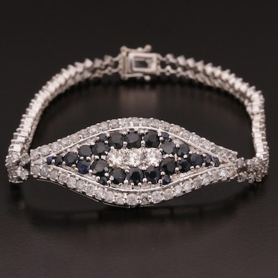 18K Gold Blue Sapphire and 5.00 CTW Diamond Bracelet
