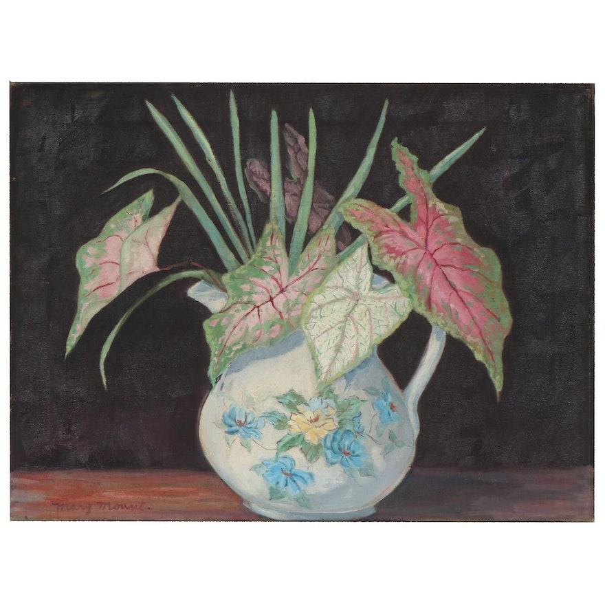Mary Mount Still Life of Plant in Pitcher Oil Painting, Mid 20th Century