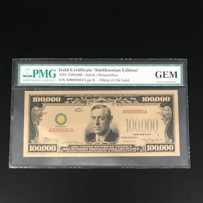 "PMG Graded Gem Uncirculated ""Smithsonian Edition"" Gold Certificate"