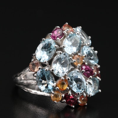 Sterling Aquamarine, Rhodolite Garnet and Sapphire Cluster Ring