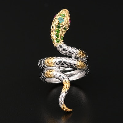 Sterling Silver Snake Ring with Ruby, Diopside and Tourmaline