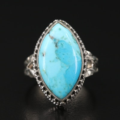 Sterling Silver Turquoise Navette Ring