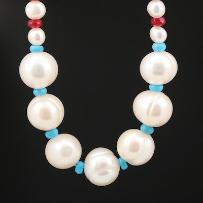 Cultured Pearl, Quench Crackled Quartz, and Turquoise Necklace With 14K Clasp