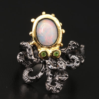 Sterling Silver Opal and Peridot Octopus Ring