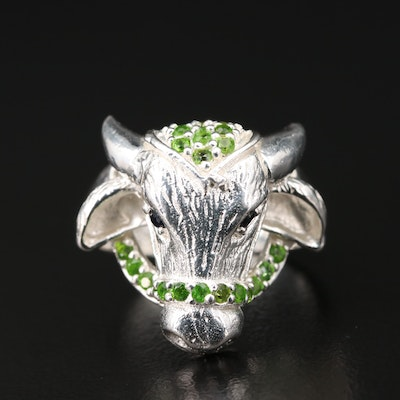 Sterling Diopside and Sapphire Bovine Ring