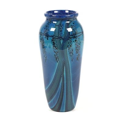 """Rick Satava """"Black Harvest Moon"""" Art Glass Vase"""