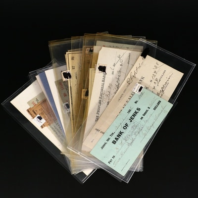 Nineteen Vintage and Antique Checks, Early to Mid 20th Century