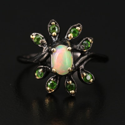 Sterling Opal and Diopside Floral Ring