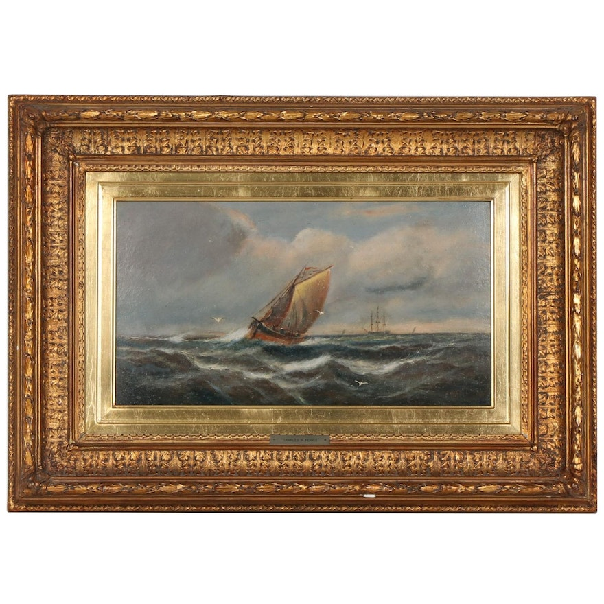 Charles W. Ferris Nautical Oil Painting, 1911