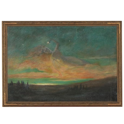 Surreal Landscape With Figure Oil Painting, Mid-20th Century