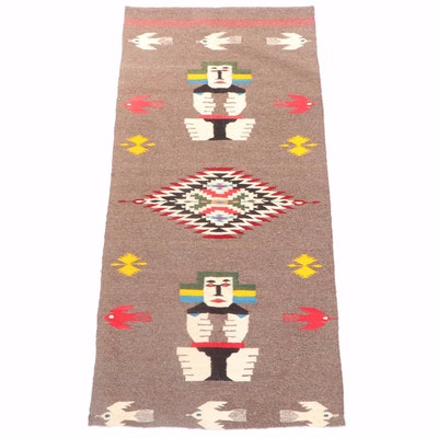 2'3 x 4'10 Handwoven Mexican Geometric and Figural Wool Rug