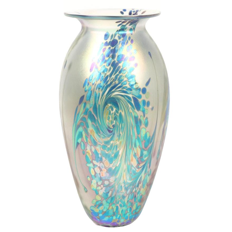 """Robert Eickholt """"Starry Night"""" Handblown Iridescent Art Glass Vase, 2008"""