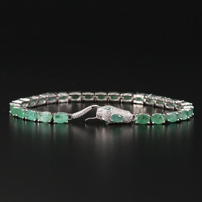 Sterling Silver Emerald and Cubic Snake Bracelet